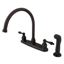 Kingston Brass Two Handle Goose Neck Kitchen Faucet & Non-Metallic Side Spray - Oil Rubbed Bronze