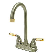 "Kingston Brass Two Handle 4"" Centerset High-Arch Bar Faucet - Satin Nickel/Polished Brass"