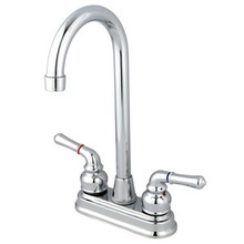 "Kingston Brass Two Handle 4"" Centerset High-Arch Bar Faucet - Polished Chrome"