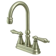 "Kingston Brass Two Handle 4"" Centerset Bar Faucet without Pop-Up Rod - Satin Nickel KS2498AL"