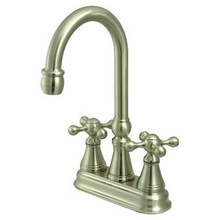 "Kingston Brass Two Handle 4"" Centerset Bar Faucet without Pop-Up Rod - Satin Nickel KS2498KX"
