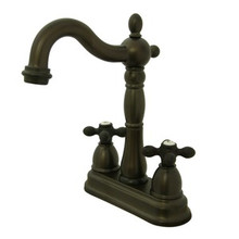 "Kingston Brass Two Handle 4"" Centerset Bar Faucet without Pop-Up Rod - Oil Rubbed Bronze"