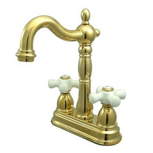 "Kingston Brass Two Handle 4"" Centerset Bar Faucet without Pop-Up Rod - Polished Brass KB1492PX"