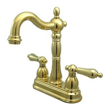 "Kingston Brass Two Handle 4"" Centerset Bar Faucet without Pop-Up Rod - Polished Brass"