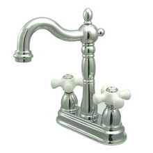 "Kingston Brass Two Handle 4"" Centerset Bar Faucet without Pop-Up Rod - Polished Chrome KB1491PX"