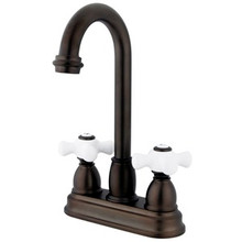 "Kingston Brass Two Handle 4"" Centerset Bar Faucet - Oil Rubbed Bronze KB3495PX"