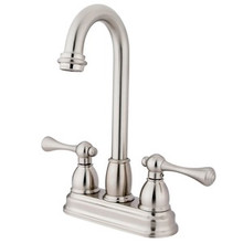 "Kingston Brass Two Handle 4"" Centerset Bar Faucet - Satin Nickel KB3498BL"