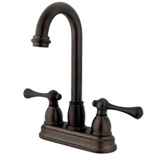 "Kingston Brass Two Handle 4"" Centerset Bar Faucet - Oil Rubbed Bronze KB3495BL"