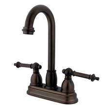 "Kingston Brass Two Handle 4"" Centerset Bar Faucet - Oil Rubbed Bronze KB3495TL"