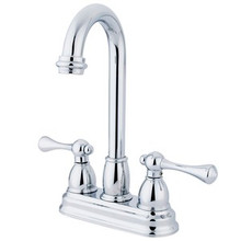 "Kingston Brass Two Handle 4"" Centerset Bar Faucet - Polished Chrome KB3491BL"