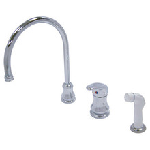Kingston Brass Single Loop Handle Widespread Kitchen Faucet Faucet & White Side Spray - Polished Chrome