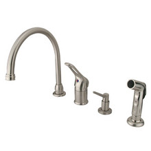 Kingston Brass Single Loop Handle Kitchen Faucet with Soap Dispenser & Side Spray - Satin Nickel