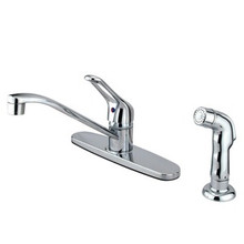 Kingston Brass Single Loop Handle Kitchen Faucet & Side Spray - Polished Chrome