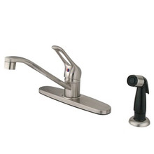 Kingston Brass Single Loop Handle Kitchen Faucet & Side Spray - Satin Nickel