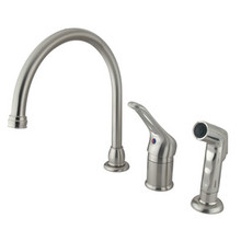 Kingston Brass Single Loop Handle Kitchen Faucet & Non-Metallic Side Spray - Satin Nickel