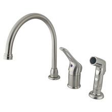 Kingston Brass Single Loop Handle Kitchen Faucet & Non-Metallic Side Spray - Satin Nickel