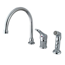 Kingston Brass Single Loop Handle Kitchen Faucet & Non-Metallic Side Spray - Polished Chrome
