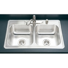 "Hamat 33"" x 22"" x 9"" 50/50 Double Bowl Kitchen Sink - Four Holes - Stainless Steel"