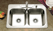 "Hamat 33"" x 22"" x 9"" 50/50 Double Bowl Kitchen Sink - Three Holes - Stainless Steel"
