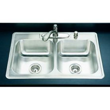 "Hamat 32"" X 22"" X 8"" Double Bowl Kitchen Sink - Four Holes - Stainless Steel"