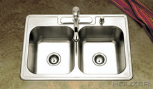 "Hamat 32"" X 22"" X 8"" Double Bowl Kitchen Sink - Three Holes - Stainless Steel"