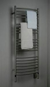"Amba Jeeves DCB-20 Model D 20-1/2"" W x 52-3/4"" H Curved Electric Heated Towel Warmer - Brushed Stainless"