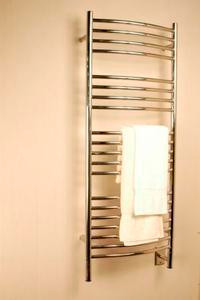 """Amba Jeeves DCP-20 Model D 20-1/2"""" W x 52-3/4"""" H Curved Electric Heated Towel Warmer - Polished Stainless"""