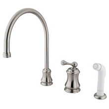 Kingston Brass Single Handle Widespread Kitchen Faucet & Non-Metallic Side Spray - Satin Nickel KS3818BL
