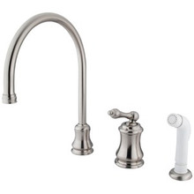 Kingston Brass Single Handle Widespread Kitchen Faucet & Non-Metallic Side Spray - Satin Nickel KS3818AL