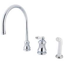 Kingston Brass Single Handle Widespread Kitchen Faucet & Non-Metallic Side Spray - Polished Chrome KS3811PL