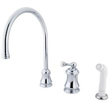 Kingston Brass Single Handle Widespread Kitchen Faucet & Non-Metallic Side Spray - Polished Chrome KS3811BL