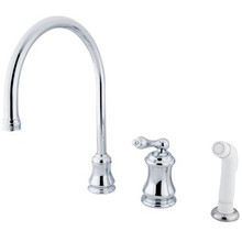Kingston Brass Single Handle Widespread Kitchen Faucet & Non-Metallic Side Spray - Polished Chrome KS3811AL