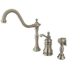 Kingston Brass Single Handle Widespread Kitchen Faucet & Brass Side Spray - Satin Nickel KS7808TPLBS