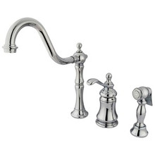Kingston Brass Single Handle Widespread Kitchen Faucet & Brass Side Spray - Polished Chrome KS7801TPLBS