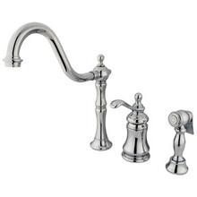 Kingston Brass Single Handle Widespread Kitchen Faucet & Brass Side Spray - Polished Chrome KS7801TPLBS