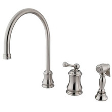 Kingston Brass Single Handle Widespread Kitchen Faucet & Brass Side Spray - Satin Nickel KS3818BLBS