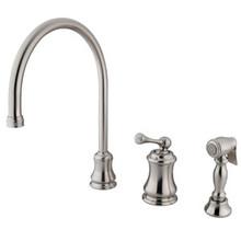 Kingston Brass Single Handle Widespread Kitchen Faucet & Brass Side Spray - Satin Nickel KS3818BLBS