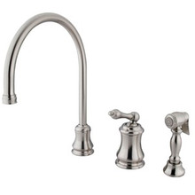 Kingston Brass Single Handle Widespread Kitchen Faucet & Brass Side Spray - Satin Nickel KS3818ALBS