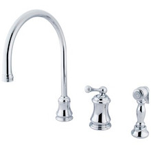 Kingston Brass Single Handle Widespread Kitchen Faucet & Brass Side Spray - Polished Chrome KS3811BLBS