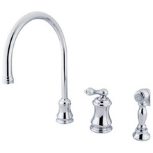 Kingston Brass Single Handle Widespread Kitchen Faucet & Brass Side Spray - Polished Chrome KS3811ALBS
