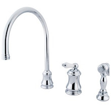 Kingston Brass Single Handle Widespread Kitchen Faucet & Brass Side Spray - Polished Chrome KS3811PLBS
