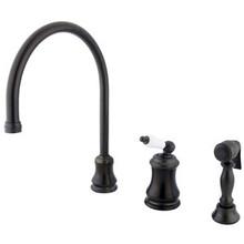 Kingston Brass Single Handle Widespread Kitchen Faucet & Brass Side Spray - Oil Rubbed Bronze KS3815PLBS