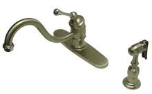 Kingston Brass Single Handle Widespread Kitchen Faucet & Brass Side Spray - Satin Nickel/Polished Chrome