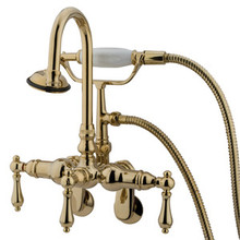 "Kingston Brass 3-3/8"" - 9"" Adjustable Center Wall Mount Clawfoot Tub Filler Faucet with Hand Shower - Polished Brass CC301T2"