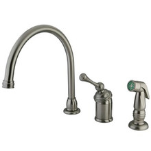 Kingston Brass Single Handle Kitchen Faucet & Side Spray - Satin Nickel KB3818BLSP