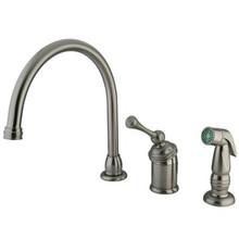 Kingston Brass Single Handle Kitchen Faucet & Side Spray - Satin Nickel KB3818BLSP