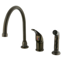 Kingston Brass Single Handle Kitchen Faucet & Non-Metallic Side Spray - Oil Rubbed Bronze KB825