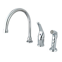 Kingston Brass Single Handle Kitchen Faucet & Non-Metallic Side Spray - Polished Chrome KB821