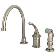 Kingston Brass Single Handle Kitchen Faucet & Non-Metallic Side Spray - Satin Nickel KB3818GLSP