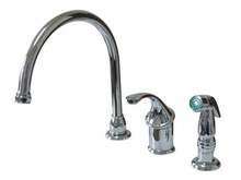 Kingston Brass Single Handle Kitchen Faucet & Non-Metallic Side Spray - Polished Chrome KB3811GLSP